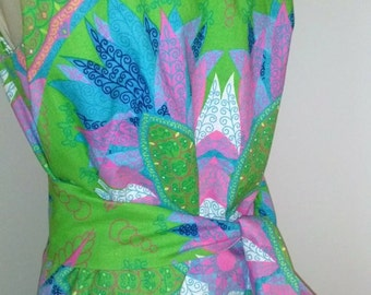 Vintage Dress 1960 Maxi Dress With Sash Green Blue Pink White Flowers