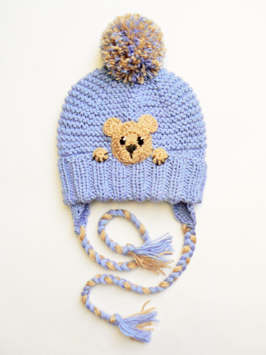 teddy bear hat toddler winter hat kids earflap hat pom pom. Black Bedroom Furniture Sets. Home Design Ideas