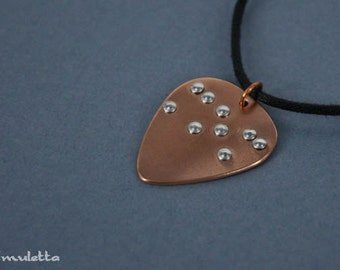 Braille Jewelry - guitar pick necklace - MOM - for Mother's Day gift