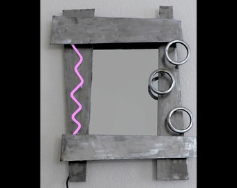 Handmade Steel Mirror with real Purple Neon