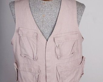 Tan Canvas Vintage Hunting Birding Fishing Vest with Pockets Velcro Closure