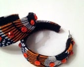 African print funky mama hoop earrings, ankara jewelry, peacock print, orange gemstones