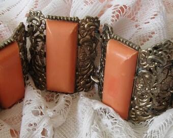 Awesome Art Deco Vintage Four Panel Gold Tone Coral Peach Celluloid Link Statement Bracelet