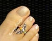 Toe Ring - Rainbow - Heart - Wings - Stretch Bead Toe Ring
