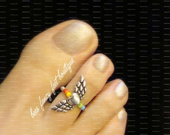 Toe Ring - Rainbow - Heart - Wings - Stretch Bead Toe Ring