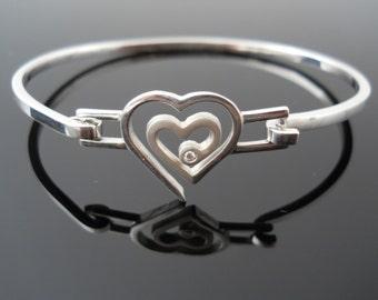 Diamond Heart Bracelet, Genuine Diamond, Top Latch Cuff, Sterling Silver Heart, Silver Diamond Bracelet, 925 Diamond Heart, Top Latch Bangle