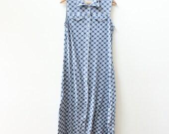 Plaid 90s Grunge Button Down Maxi Dress