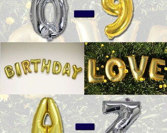"Customized 14"" Letter Balloons Gold/Silver Mylar Foil Alphabet A-Z Number 0-9 Balloon"