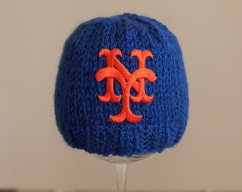 NY Mets Hat, Mets Baby Hat, NY Mets Newborn Hat, Royal Blue and Orange Mets Beanie Hat