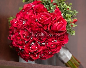 Red wedding bouquet, Red roses wedding bouquet, real touch flowers, bouquet alternative, real touch bouquet, woodland wedding, ready to ship