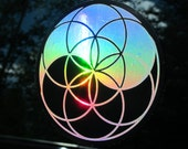 """Yin Yang Seed of Life Sticker. Decal.  Prismatic Rainbow Silver on Black. 4"""""""