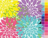 Flower Clip Art - 45 Flowers - Rainbow - ClipArt Scrapbooking Personal and  Commercial  G7230