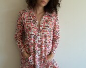 Vintage Super Cute Bright Colorful Hippie Boho Abstract Psychedelic Mini Dress