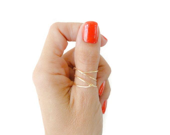 Criss Cross Gold Filled Ring Thumb Ring Mid Finger Ring For Women