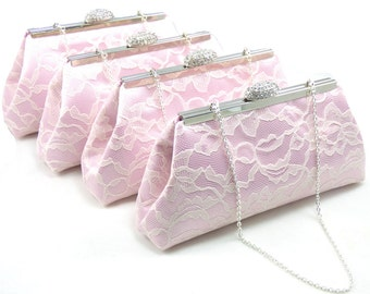 Light Pink and Ivory Bridesmaid Gift, SALE! 5% OFF Set of Four Bridesmaid Clutches, Mother Of The Bride Gift, Bridal Clutch, Wedding Clutch