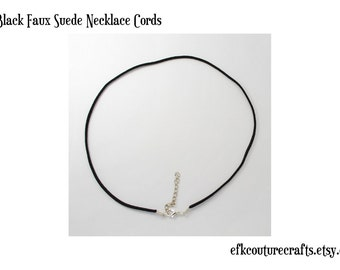 "18"" Black Faux Suede Necklace Cord (10)"