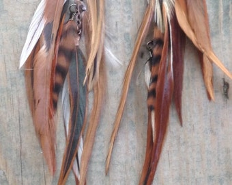 Rustic Chic Chandelier Feather Earrings