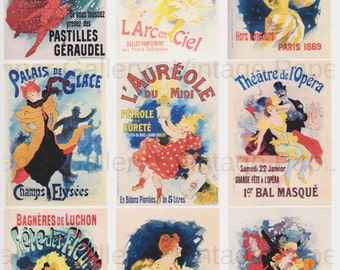 FRENCH THEATER POSTERS-iNSTANT dOWNLOAD - Jules Cheret - 9 Printable Images - Scrapbooking - Collage - Gift Tags - Cards - Magnets