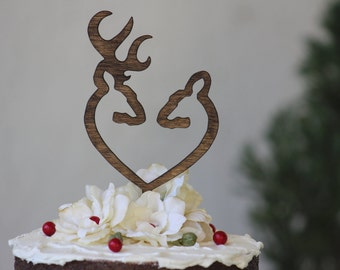 Deer Wedding Cake Topper  Mr & Mrs -  Rustic Country Chic Wedding