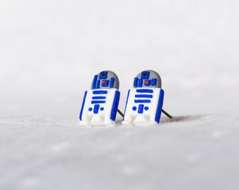R2D2 Star Wars - Miniature - Stud Earrings - Polymer Clay
