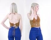 vintage suede leather halter top / 90s halter crop top / crochet halter crop top