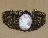 Pink Fairy Bracelet Filigree Cuff Bracelet in Bronze Vintage Style Adjustable Bracelet Pink White