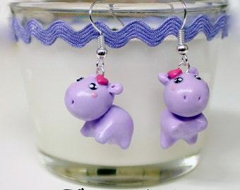 hippo earrings - polymer clay