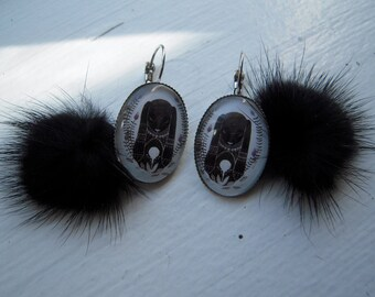 Big fur earrings black