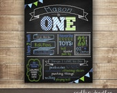 First Birthday Chalkboard Poster, ONE Chalkboard Poster, Boy's 1st Birthday Decorations, First Birthday Photo Prop, Printable or Printed