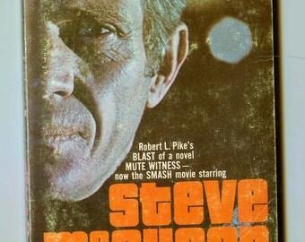 Steve McQueen is Bullitt Vintage Avon Paperback Version of the Film based on Robert L. Pike's novel Mute Witness 1960s Cool
