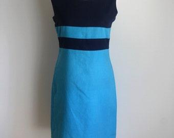 90s Nautical Dress / Blue Dress / 1990s Shift Dress / Mod Dress / Short Mini Dress