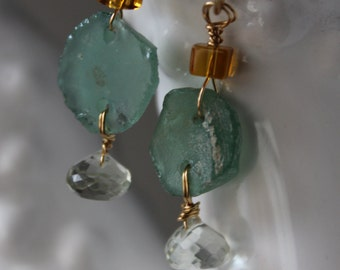Roman Glass and Prehnite on Hammered Brass Hoops