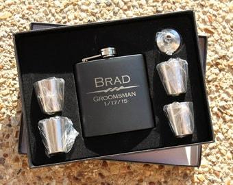 2: Groomsmen Gift, Flask Gift Set, Personalized Flask, Engraved Flask, Personalized Shot Glasses, Gift for Groomsmen, Best Man Gift, Flask