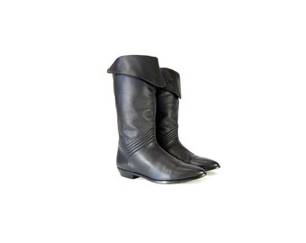 Size 7 Black Leather Boots // Tall Leather Boots with Striped Stitch Detail // Tall Black Foldover Boots // G258
