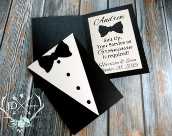 SUIT UP! Groomsman You Service is Required - Officiant | Best Man | Groomsman | Jr. Groomsman | Ring Bearer | Usher