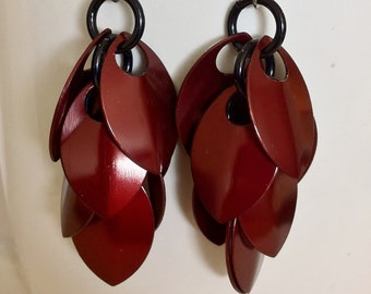 Burgundy shaggy scalemaille earrings, silver griffon designs