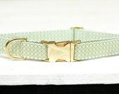 Dog Collar, Mint and Gold Female Dog Collar, Modern Dog Collar, Girl Dog Collar, Pet Collar, Large Dog Collar, Small Dog Collar, Metallic
