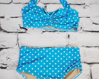 Light blue and white polka dot Girls retro swimsuit bikini two piece made to order sizes 2-12