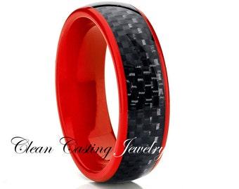 Titanium Wedding Band,Red Titanium,Titanium Wedding Ring,Engagement Band,Black Carbon Fiber,Anniversary Ring,Classic Dome,8mm