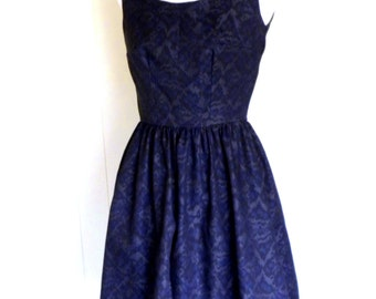 Black and Blue Ikat Print Fit and Flare Dress