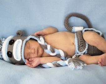 Crocheted Sock Monkey Outfit/ newborn photo prop/ photo prop/ diaper cover/ sock monkey hat