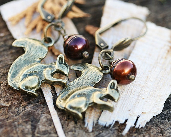 Squirrel Jewelry Set, Squirrel Earrings, Woodland Necklace on chain, Squirrel Pendant, Nature lover gift by MayaHoney