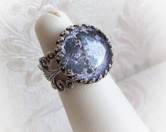 Full moon ring cosmic ornate round ring small ornate victorian moon ring antique silver ful moon ring aged silver filigree ornate ring