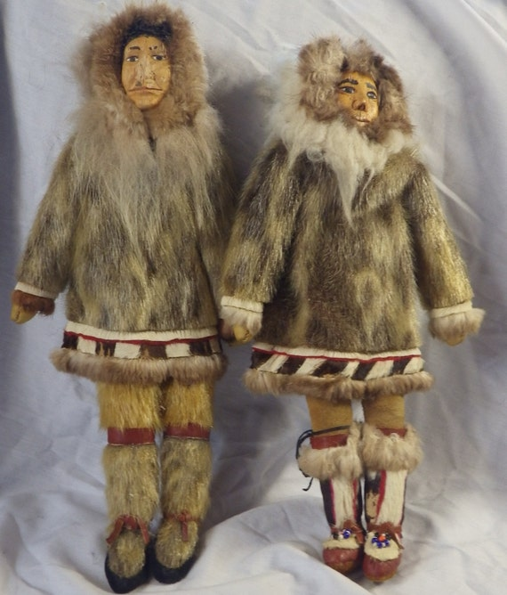 TWO Vintage Inuit Eskimo Dolls With Traditional Fur By