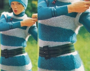 Vintage Knitting Pattern Mohair Sweater Top - PDF Instant Download - Blue Ladies Sleeveless Tunic Sweater - Digital Pattern - Striped Blouse
