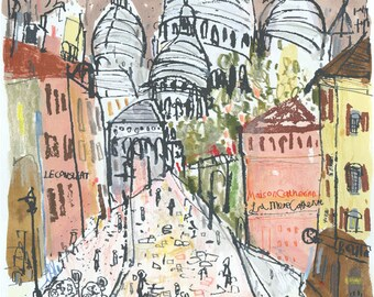 SACRE COEUR PARIS Painting, Original hand painted Parisian Watercolor, French Screenprint, Paris Drawing Montmartre Wall Art Clare Caulfield