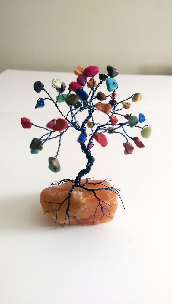Gemstone TREE WIRE SCULPTURE Colored Howlite on Orange Calcite Rock - Tree Home Decor, Reiki Energy Healing, Yoga Gifts