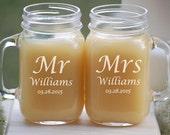 Personalized Mason Jar Glasses - Wedding Toasting Glasses - Engraved Mason Jar Mugs - Wedding Shower Gifts - Mason Jar Wedding