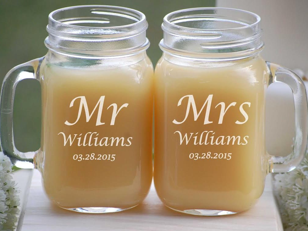 details personalized mason jar glasses wedding