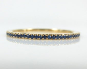 Micro Pave Blue Sapphire 18k Yellow Gold Eternity Band